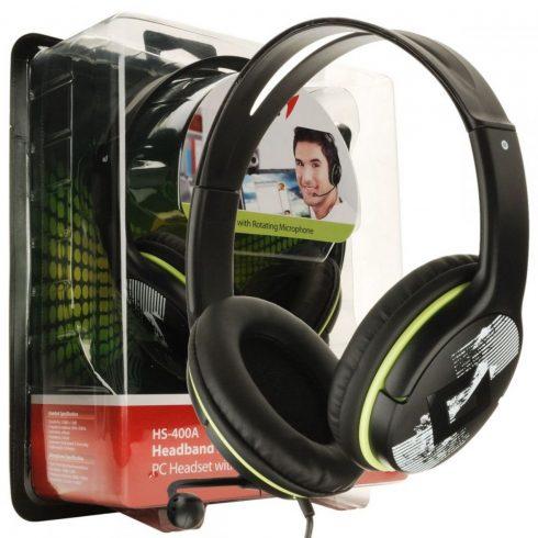 Genius HS-400A fekete mikrofonos Fejhallgató/Headset (1 év garancia)
