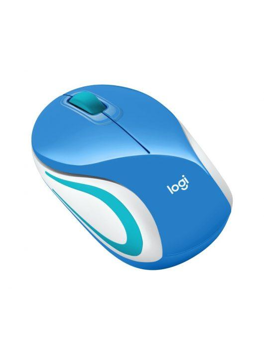 Logitech M187 kék optikai vezeték nélküli USB Mini Egér (2 év garancia)