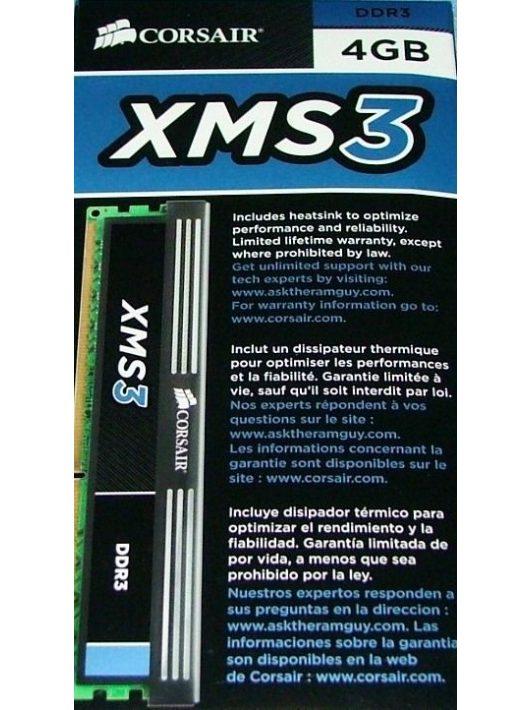 Corsair 4GB DDR3 1600MHz CMX4GX3M1A1600C9 XMS3 XMP Memória (3 év garancia)