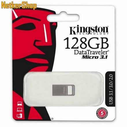 Kingston 128GB DT Micro 3.1 USB3.1 ezüst Pendrive (5 év garancia)