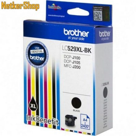 Brother LC-529XL-BK fekete eredeti tintapatron (1 év garancia)