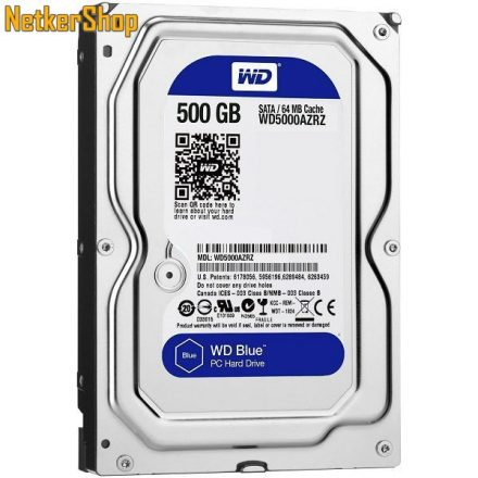 WESTERN DIGITAL WD5000AZRZ 500GB 64MB SATA3 5400rpm Blue Merevlemez, Winchester, HDD (2 év garancia)