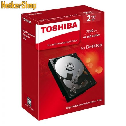 Toshiba HDWD120EZSTA 2TB 64MB 7200rpm P300 SATA3 Merevlemez, Winchester, HDD (2 év garancia)