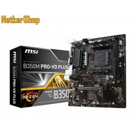 MSI B350M PRO-VD PLUS AM4 DDR4 Max:2667MHz Max:32GB Alaplap (3 év garancia)