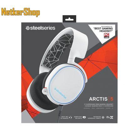 Steelseries Arctis 5 (2019 Edition) fehér 7.1 RGB mikrofonos gaming fejhallgató headset (2 év garancia)
