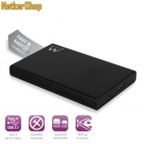 "Ewent EW7044 2.5"" USB3.0-SATA fekete HDD SSD külső mobilrack (5 év garancia)"