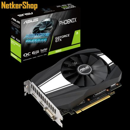 ASUS Nvidia Geforce PH-GTX1660-O6G 6GB DDR5 192bit PCI Express Videokártya (3 év garancia)