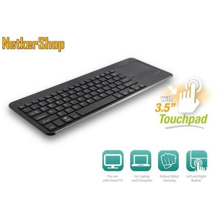 Ewent EW3114 wireless USB HUN fekete Smart TV billentyűzet + touchpad (2 év garancia)