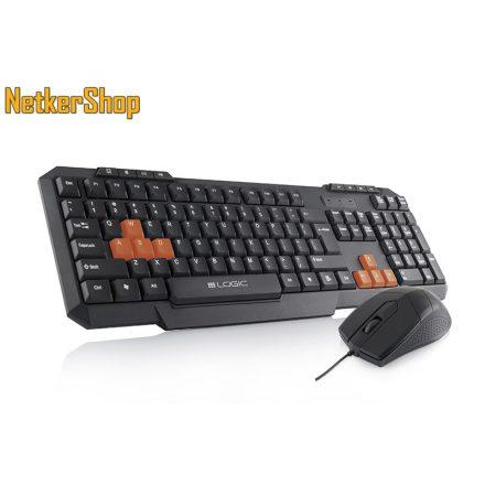 Modecom Logic LKM-201 USB HUN fekete multimédiás billentyűzet + egér (2 év garancia)