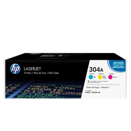 HP CF372AM (304A) 3-pack C,M,Y színes eredeti toner (1 év garancia)