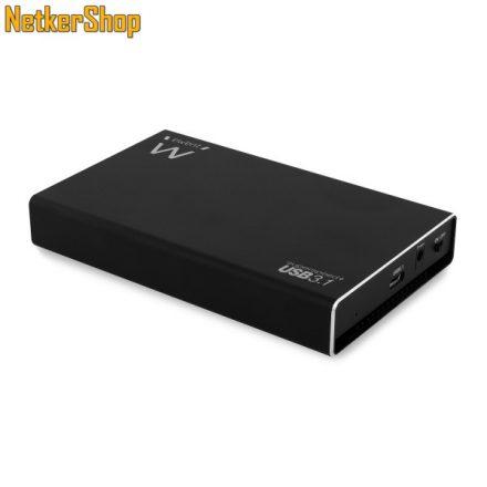 """Ewent EW7023 USB Type C-3.1 Gen2-SATA fekete aluminium 2.5"""" HDD SSD külső mobilrack (5 év garancia)"""