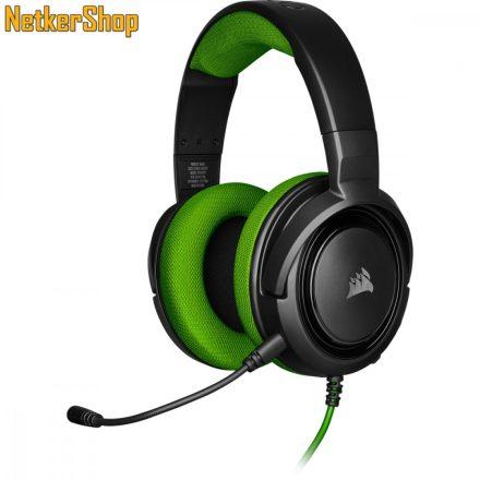 Corsair HS35 (CA-9011197-EU) fekete-zöld mikrofonos gaming fejhallgató headset (2 év garancia)