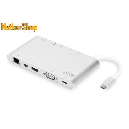 Digitus DA-70861 USB Type-C ezüst univerzális notebook dokkoló (1 év garancia)