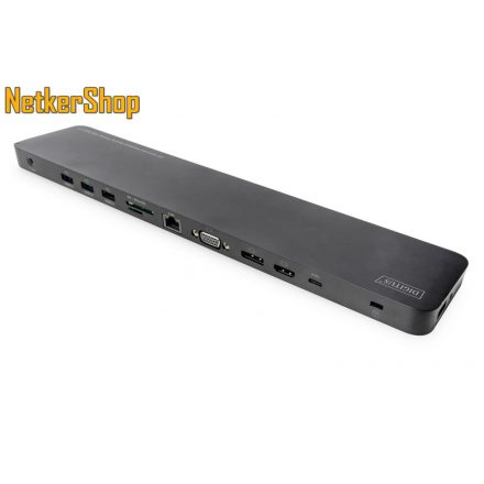 """Digitus DA-70868 14"""" USB Type-C fekete univerzális notebook dokkoló (1 év garancia)"""