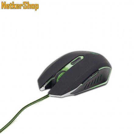 Gembird MUSG-001-G Black/Green Gaming egér (1 év garancia)