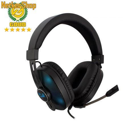 Ewent PL3321 RGB fekete gaming mikrofonos fejhallgató headset (2 év garancia)