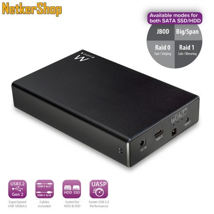 "Ewent EW7077 SATA3 - USB-C 3.2 gen2 fekete RAID 2.5"" Dual HDD külső ház mobilrack (5 év garancia)"