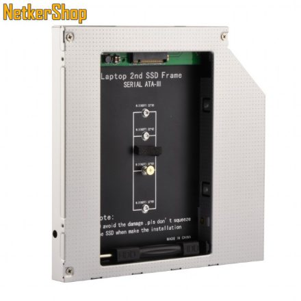 """Gembird A-SATA12M2-01 Slim SATA 5.25"""" beépítő keret notebookba SATA M.2 SSD-hez (2 év garancia)"""